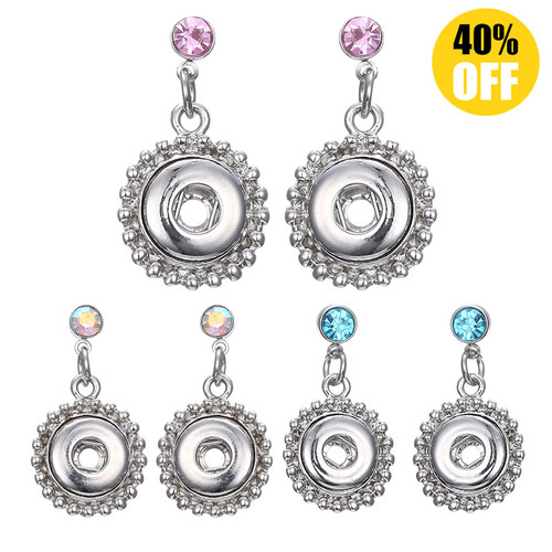 Fashion 12mm Snap Button Earring With Rhinestones For Women LSEN12MM03