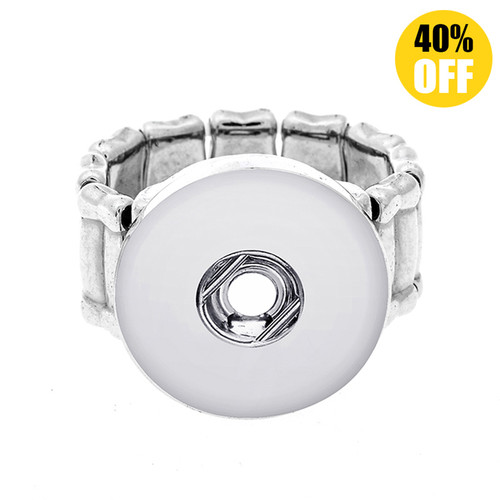 Plain Deformable Silver Color Beads Snap Button Ring LSNR04
