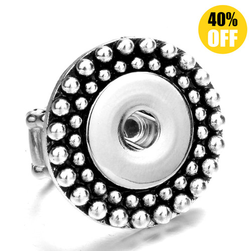 Bead Deformable Silver Color Beads Snap Button Ring LSNR05