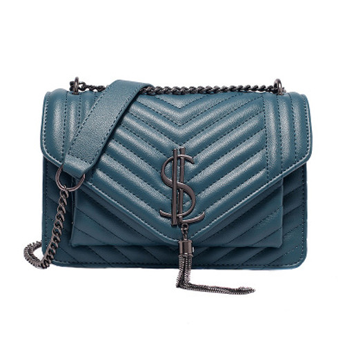 Autumn and winter new fashion rhombus chain bag with tassel diagonal cross small square bag