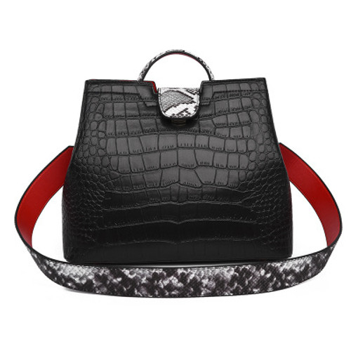 New Fashion Bag Women Crocodile Pattern Ladies Handbag Large Capacity Middle-aged Mother Bag