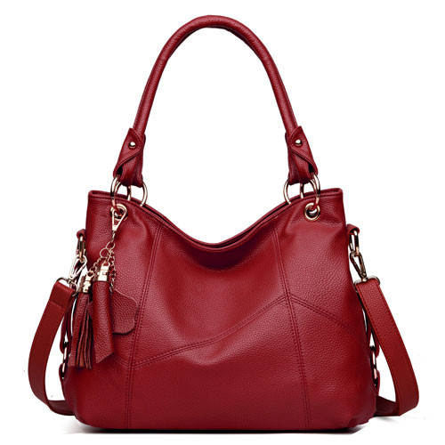 Women's One-shoulder Tassel Stitching Leather Portable Messenger Bag