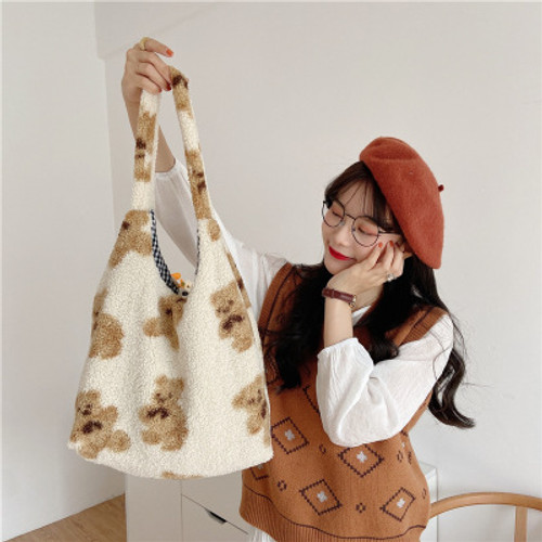 Plush Bear Positive And Negative Shoulder Bag Large Capacity Student Single Shoulder Bag