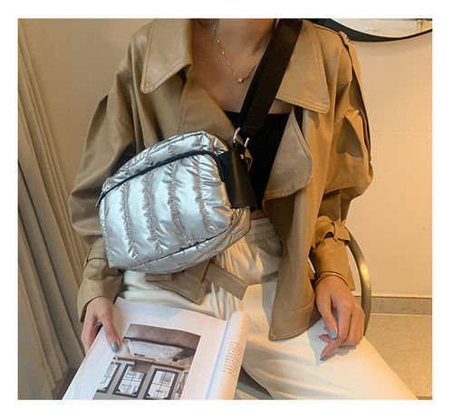 Autumn And Winter New Down And Down Shoulder Bag Simple Waterproof Small Square Bag Sports Leisure Messenger Sports Bag