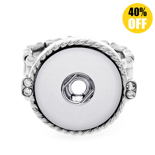Rope Deformable Silver Color Beads Snap Button Ring LSNR03