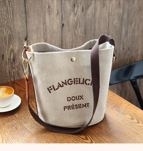 Canvas Handbags With The Same Ins Simple Canvas Bucket Bag Large-capacity One-shoulder Diagonal Bag