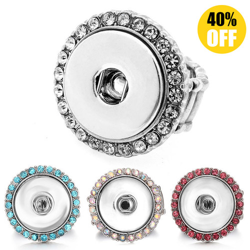 Adjustable Snap Button Ring With Rhinestone LSNR06