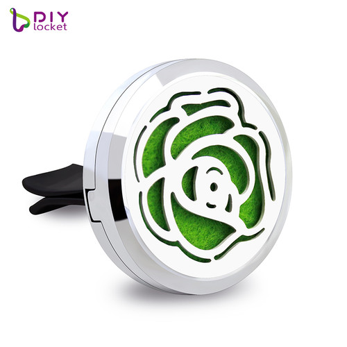 Alloy Beautiful Rose Flower Car Oil Diffuser Locket Wholesale Fashion Car Aromatherapy Diffuser Locket Jewelry AP163
