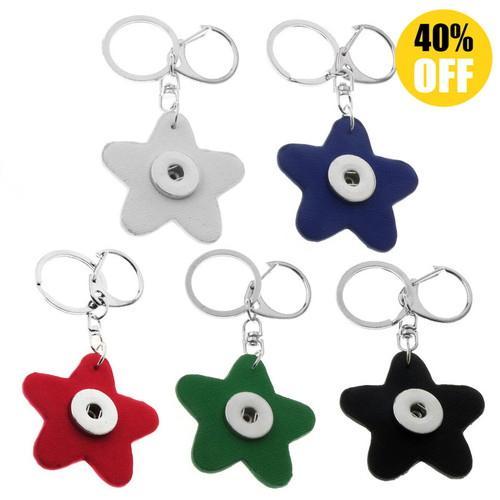 Star PU  Leather Snap Button Keychains LSNK02