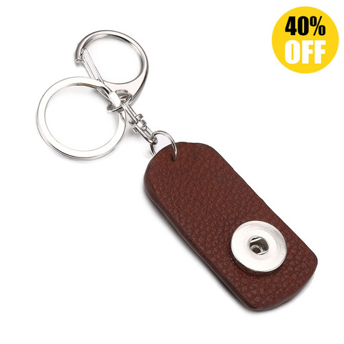 Brown Color PU  Leather Snap Button Keychains  LSNK03