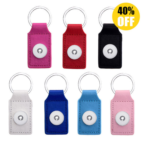 Rectangle PU  Leather Snap Button Keychains  LSNK05