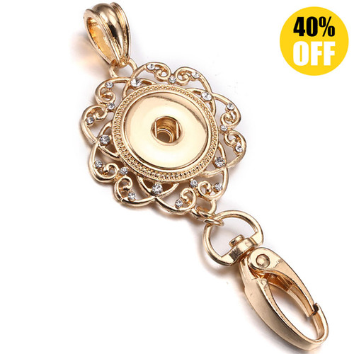 Crystal Hollow Metal Snap Button Keychains LSNK07