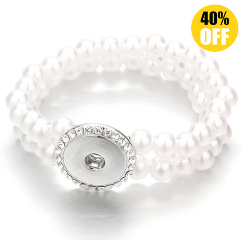 Pearl Double layered Snap Button Charm Bracelets LSNB101