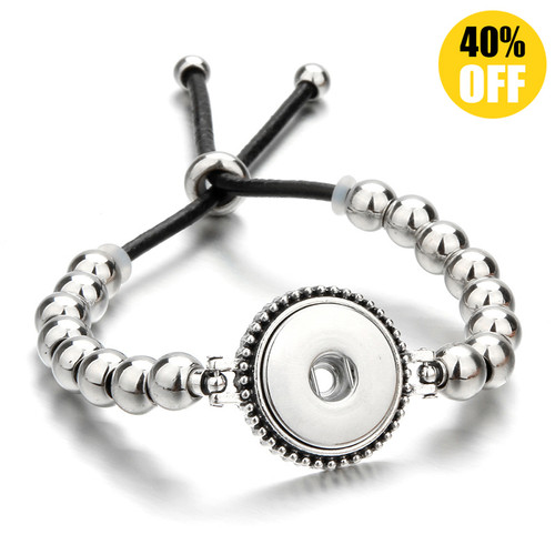 Adjustable Beads Snap Button Charm Bracelets LSNB107