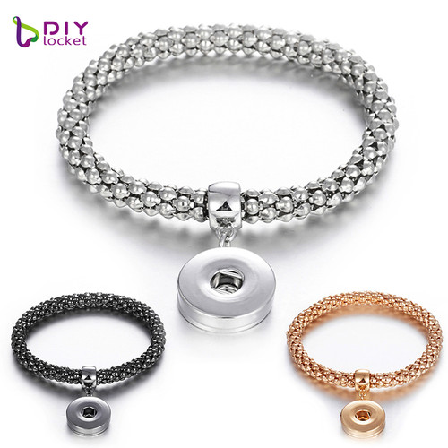 Mesh Snap Button Charm Bangle LSNB22