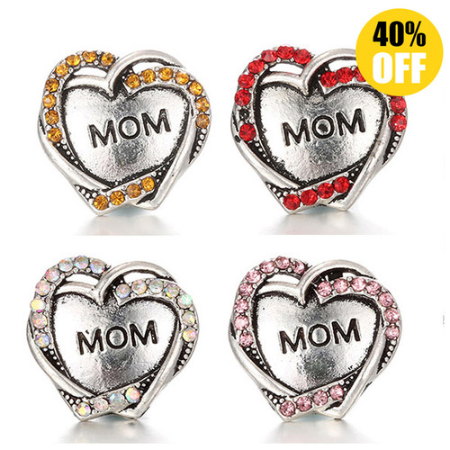 Crystal Heart 18mm Snap Charms Fit Snap Charm Bracelet For Women LSSN376