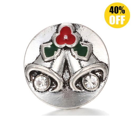 18MM Christmas Double Bell Snap Jewelry Charms LSSN297