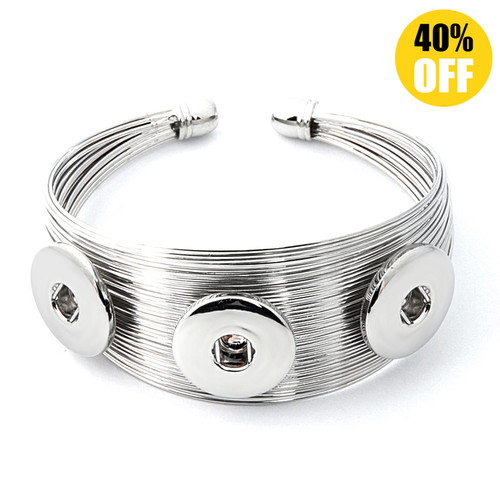 Metal Snap Button Charm Bangle LSNB25