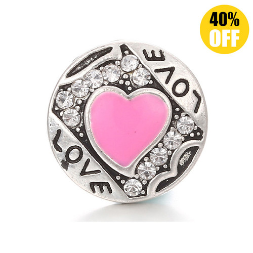 18MM Pink Heart Love Snap Button Charms LSSN313