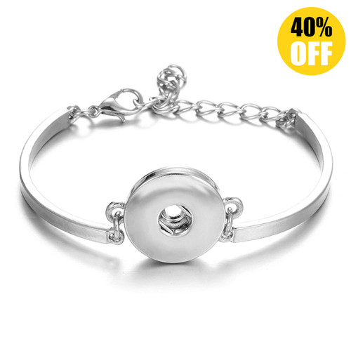 Silver Color Snap Button Charm Bangle LSNB36