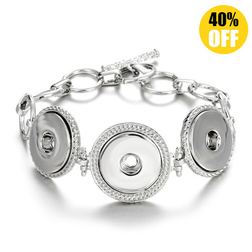 Silver Color Three Snap Buttons Bracelets LSNB41
