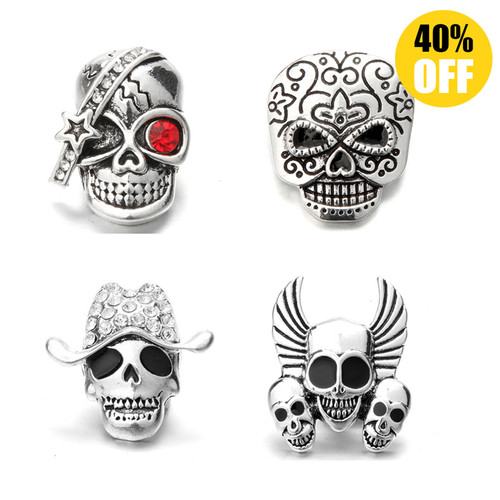 Personality Skull Snap Charms Jewelry Fit Snap Button Bracelet LSSN412