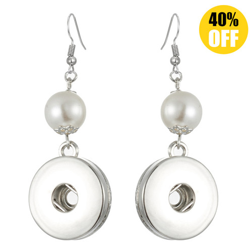 Pearl Snap Charm Earring For Women Fit 18mm/20mm Snap Button Charms LSEN04