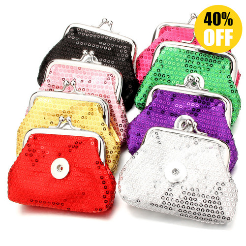 Colorful Sequins Snap Button Purse Fit 18mm Snap Button Charm For Kids LSBA01