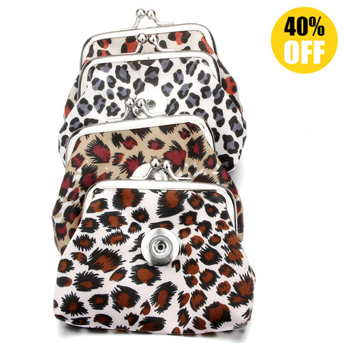 Leopard Print Snap Button Purse Fit 18mm Snap Button Charm For Kids LSBA03