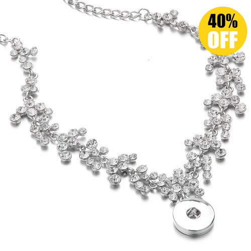 Crystal Full Rhinestones Snap Button Necklace For Women LSNP183
