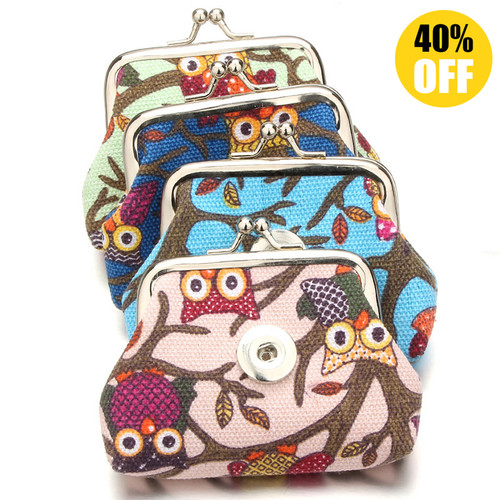 Cute Owl Snap Button Purse Colorful Small Coin Wallets Pouch For Girl LSBA04