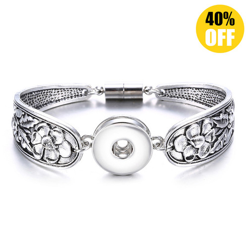 Vintage Silver Flower Snap Jewelry Bracelets For Women LSNB52