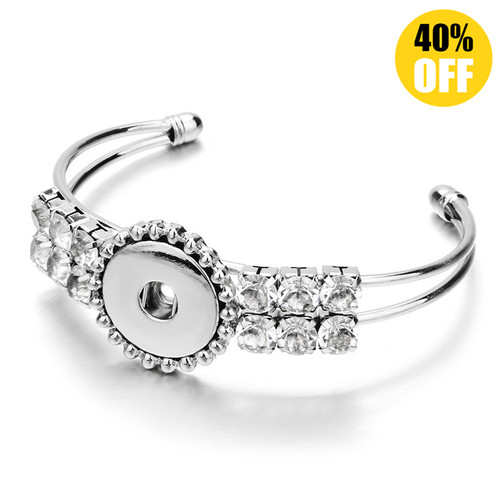 Crystal Rhinestones Snap On Jewelry Bracelets For Women Fit 18mm Snap Button Charms LSNB67-1