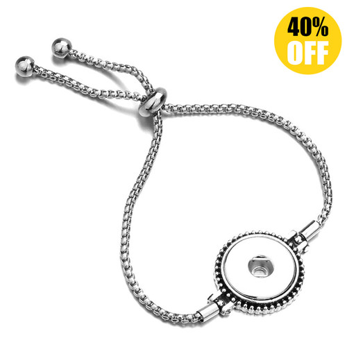 Round Adjustable Snap Jewelry Bracelets Fit 18mm Snap Button Charms LSNB70