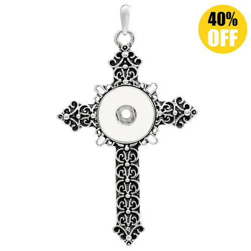 Crystal Cross Button Pendants Jewelry With Rhinestones LSNP15