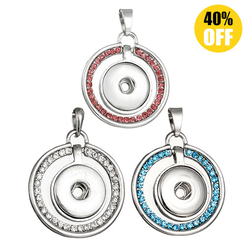 Crystal Round Button Pendants Jewelry With Rhinestones LSNP19