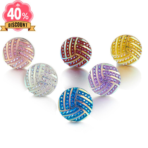 Beautiful Round Resin Snap Jewelry Wholesale With Rhinestones For Women LSSN635
