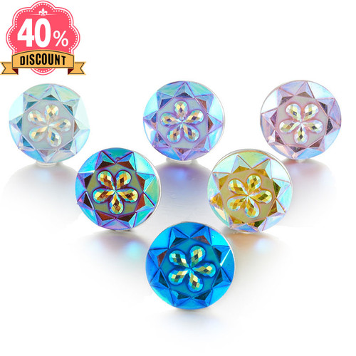 Shining Colorful Flower Snap Beads Jewelry Fit Snap Button Ring For Girl LSSN637
