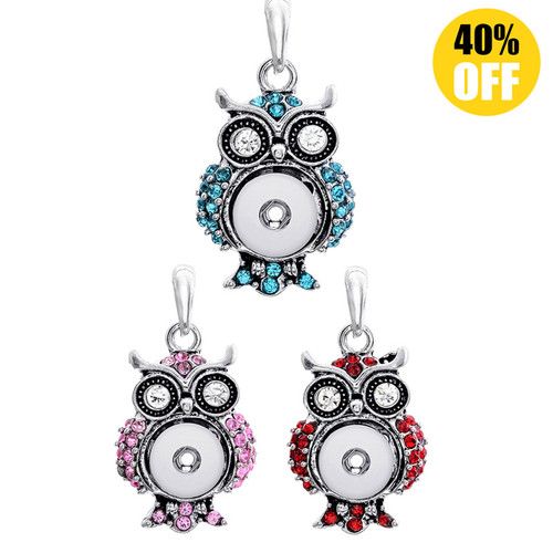 Crystal Owl Snap Jewelry Pendants With Rhinestones For Women Fit 12mm Snap Button  LSNP12MM02