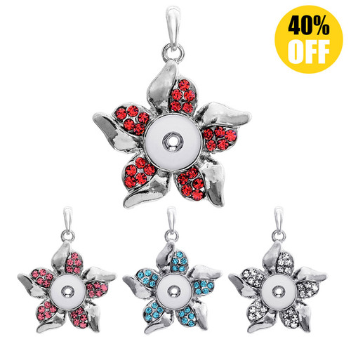 Beautiful Flower Snap On Pendants With Rhinestones Fit 12mm Snap Charms For Women  LSNP12MM03