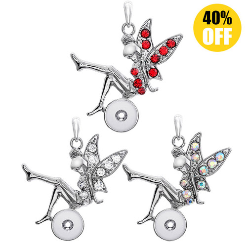Beautiful Elf Button Pendants Jewelry With Rhinestones Fit 12mm Snap Button LSNP12MM05