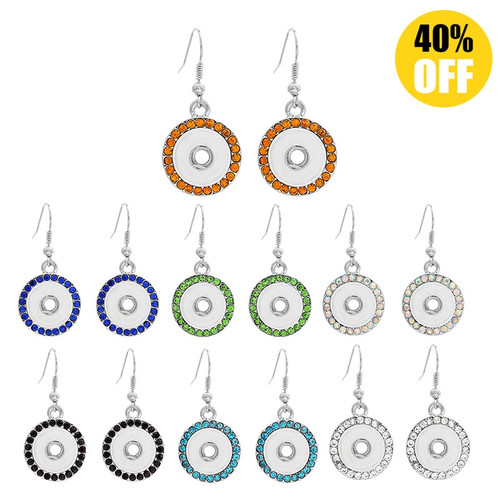 Crystal Snap Button Earring With Rhinestones For Women Fit 12mm Snap Charms LSEN12MM08
