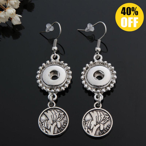 Beautiful Vintage Sister Snap Button Earring For Women Fit 12mm Snap Charms LSEN12MM16