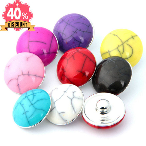 Colorful Round Snap Jewelry Charms Fit Snap Button Pendant For Women LSSN647