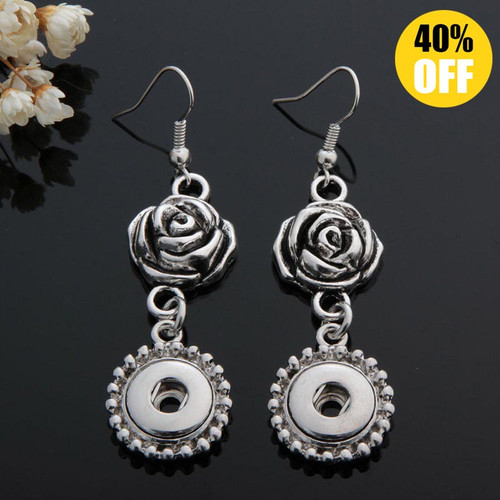 Beautiful Rose Snap Button Earring For Women Fit 12mm Snap Button LSEN12MM47
