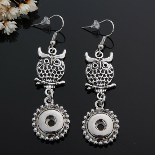 Cute Owl Snap Button Earring For Women Fit 12mm Snap Charms LSEN12MM48-49