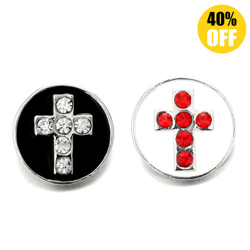 18MM Cross With Round Beads Snap Button Charms LSSN605
