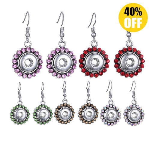 Crystal Rhinestones Snap Button Earring For Women LSEN12MM64