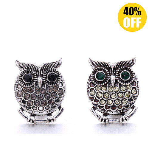 Cute Owl Snap Button Charms LSSN620