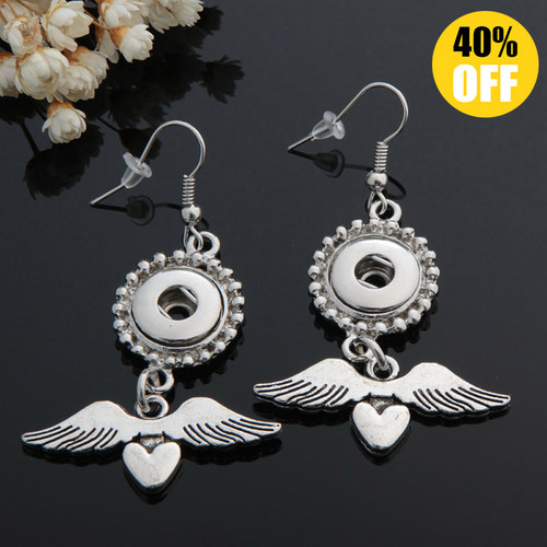 Wing Snap Button Earring Fit 12mm Snap Charms LSEN12MM79